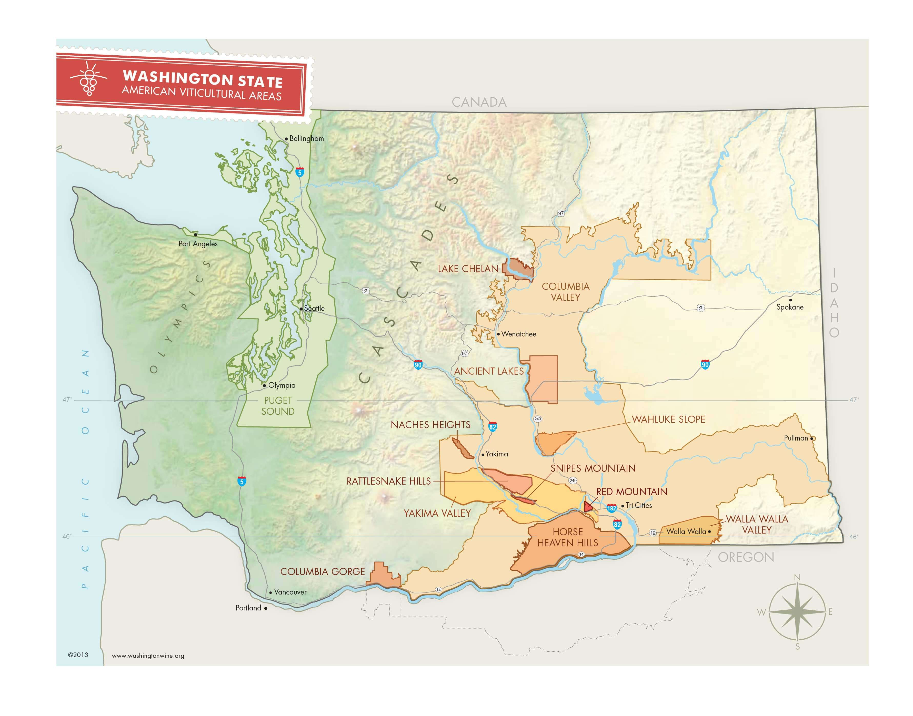 a map detailing all the different wine regions inside of the state of Washington