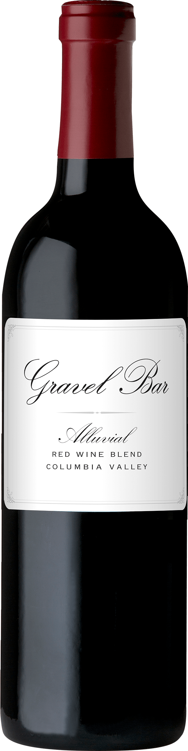 A bottle of the Alluvial Red Blend